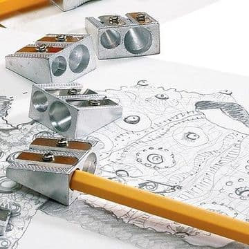 DOUBLE HOLE METAL PENCIL SHARPENERS [Pack of 4]