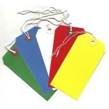 250 LARGE REINFORCED COLOURED STRUNG TAGS LUGGAGE LABELS 120 x 60mm