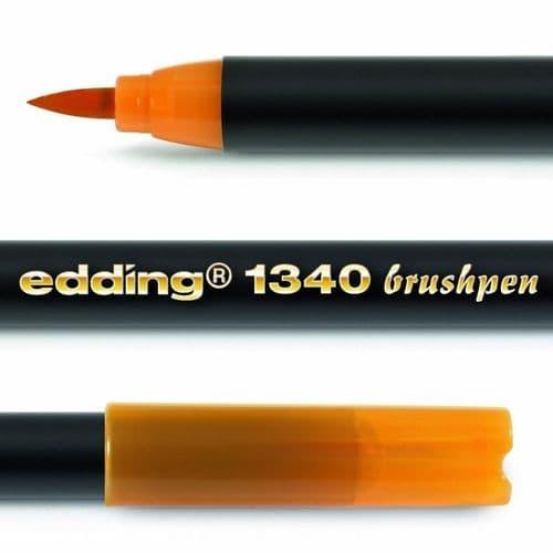 EDDING 1340 BRUSH PEN [Pack of 3] - FELT TIP PEN with Flexible Brush Style Tip