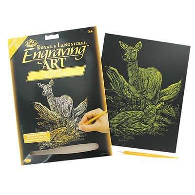 ENGRAVING ART SET - DEER (GOLD FOIL) by ROYAL & LANGNICKEL