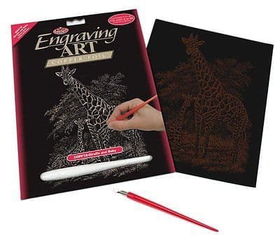 ENGRAVING ART SET - GIRAFFE & BABY (COPPER FOIL) by ROYAL & LANGNICKEL