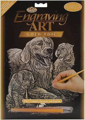 ENGRAVING ART SET - GOLDEN RETRIEVERS (GOLD FOIL) by ROYAL & LANGNICKEL