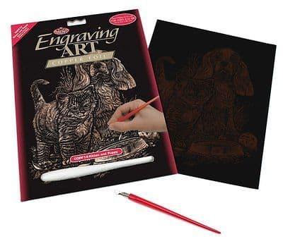 ENGRAVING ART SET - KITTEN & PUPPY (COPPER FOIL) by ROYAL & LANGNICKEL