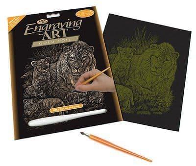 ENGRAVING ART SET - LION & CUBS (GOLD FOIL) by ROYAL & LANGNICKEL