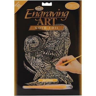 ENGRAVING ART SET - OWLS (GOLD FOIL) by ROYAL & LANGNICKEL