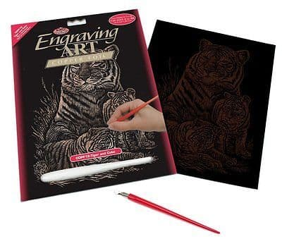 ENGRAVING ART SET - TIGER & CUBS (COPPER FOIL) by ROYAL & LANGNICKEL