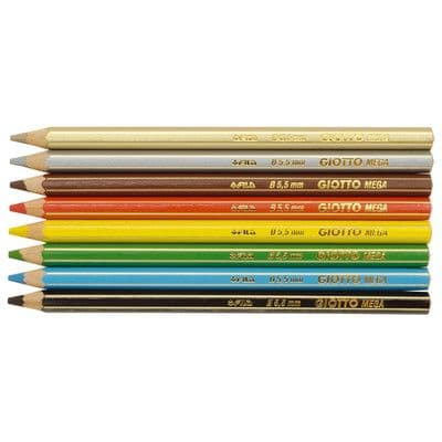 """GIOTTO SUPER JUMBO COLOURING PENCILS - Hexagonal Shape with Large 5.5mm Lead """"Pack of 8"""""""