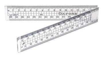"HELIX OXFORD 30CM / 12"" FOLDING CLEAR PLASTIC RULE RULER"
