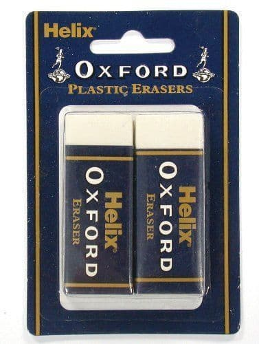 HELIX OXFORD JUMBO LARGE PLASTIC RUBBER ERASERS [Pack of 2 on Blistercard]
