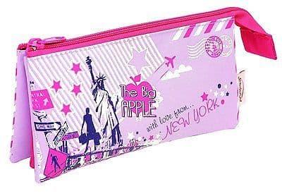 "HELIX PENCIL CASE GIRLS PINK ""CITY SIGHTS"" TRIPPLE POCKET - 3 POCKET"