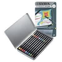 LYRA ARTIST FELT TIP ART ILLUSTRATION DRAWING PENS - Metal Gift Tin of 10 Pens