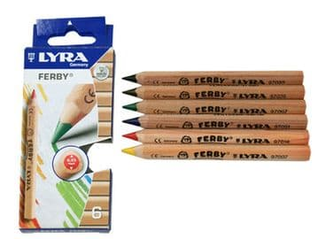 LYRA FERBY HALF-SIZE COLOURING PENCILS NATURAL WOOD FINISH Pack of 6