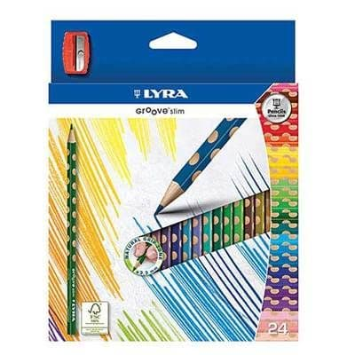 LYRA GROOVE SLIM SIZE TRIANGULAR COLOURING PENCILS FULL SIZE WALLET of 24