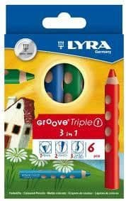 LYRA GROOVE TRIPLE 1 PENCIL / CRAYON / WATER SOLUBLE = 3 in 1 SUPER JUMBO SIZE