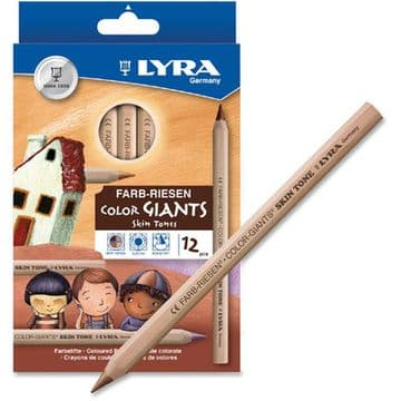 LYRA SKIN TONES SUPER JUMBO COLOURING PENCILS NATURAL WOOD FINISH Pack of 12