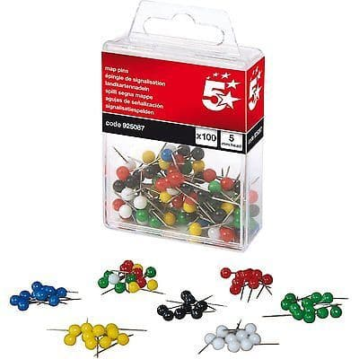 MAP PINS ASSORTED COLOURS  x 100  5mm ROUND HEAD 12mm PIN LENGTH - BOXED  5 STAR