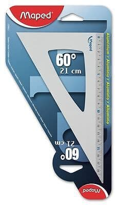 MAPED 21cm 60* ALUMINIUM SET SQUARE SCHOOL MATHS