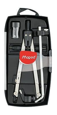 MAPED 4 PIECE PRECISION DRAWING SET COMPASS with extension arm and spare leads