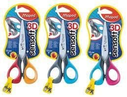 MAPED SENSOFT LEFT HANDED SCISSORS 13cm with Flexible Finger Loops in 3 Colours
