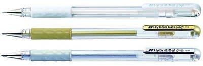 PENTEL HYBRID GEL GRIP K118 MEDIUM 0.8mm ROLLERBALL METALLIC GEL PEN