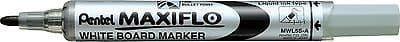 PENTEL MAXI FLO WHITEBOARD DRYWIPE MARKER PENS - FINE BULLET TIP (MWL5S)