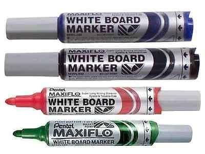 PENTEL MAXI FLO WHITEBOARD DRYWIPE MARKER PENS - MEDIUM BULLET TIP (MWL5M)
