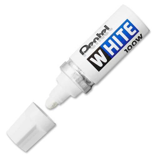 PENTEL WHITE 100W MULTI PURPOSE PERMANENT MARKER PEN [Pack of 3]