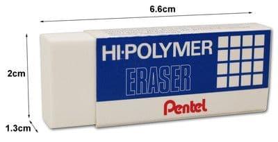 """PENTEL ZEH/10 HI-POLYMER ERASER RUBBER - EXTRA LARGE ERASERS """"Twin Pack"""""""