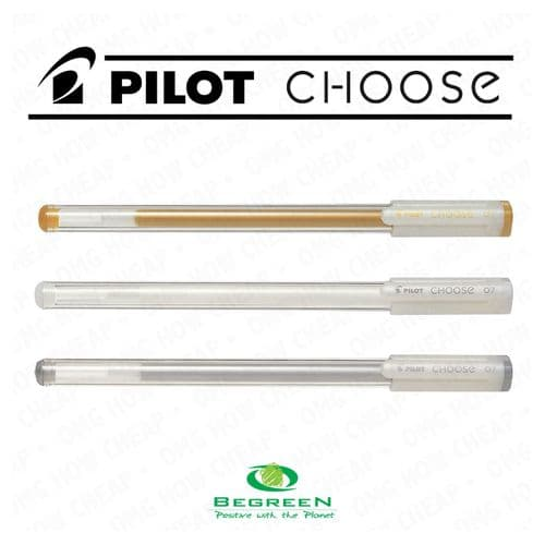 Pilot BeGreen Choose Gel Ink Rollerball 0.7mm- Wallet of 3 (Gold, Silver, White)
