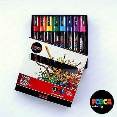 POSCA Art Paint Markers - PC-5M Essentials Set of 8 - Box Set