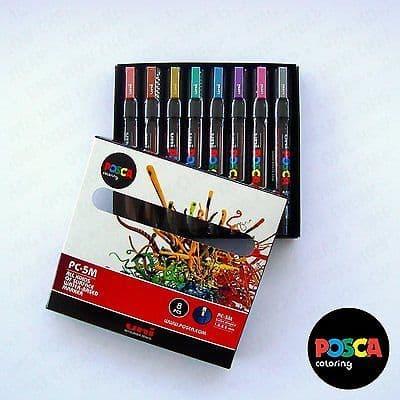 POSCA Art Paint Markers - PC-5M Metallic Set of 8 - Box Set