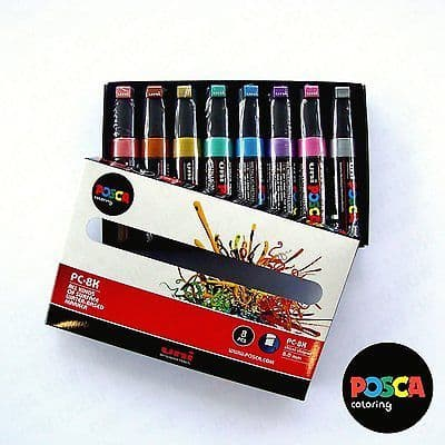 POSCA Art Paint Markers - PC-8K Metallic Set of 8 - Box Set