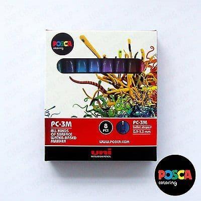 POSCA Black & White - Fine to Medium Set of 8 Pens (PC-1MR, PC-1M, PC-3M, PC-5M)