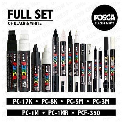POSCA Black & White Set of 14 Pens PC-17K PC-8K PC-5M PC-3M PC-1M PC-1MR PCF-350