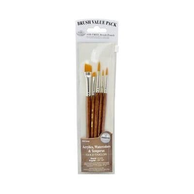 ROYAL & LANGNICKEL 5PC GOLD TAKLON BRUSH VALUE PACK in FREE BRUSH POUCH