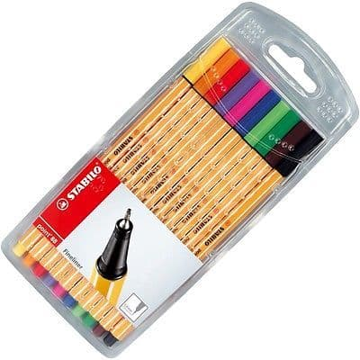 STABILO POINT 88 FINELINER PIGMENT LINER ASSORTED COLOURS [WALLET OF 10]