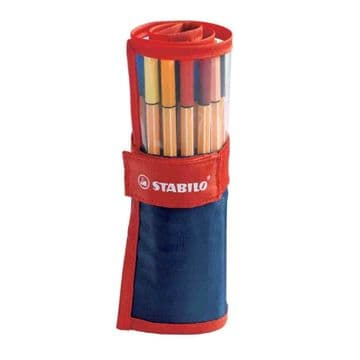STABILO POINT 88 FINELINER ROLLERSET - 25 ASSORTED COLOURS IN ROLL UP CASE