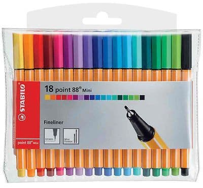 STABILO POINT 88 MINI FINELINER PIGMENT LINER ASSORTED COLOURS (WALLET OF 18)
