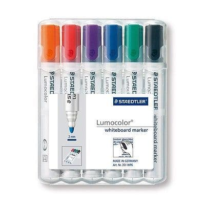 STAEDTLER LUMOCOLOR WHITEBOARD DRY WIPE MARKER 351 BULLET TIP WALLET of 6