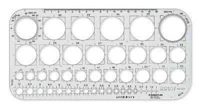 STAEDTLER MARS CIRCLES TEMPLATE STENCIL - 45 Circles from 1mm to 36mm