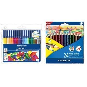 STAEDTLER NORIS CLUB COLOURING PENCILS & FELT TIPS ADULT COLOURING BUNDLE