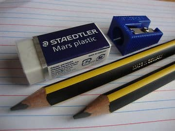 STAEDTLER NORIS CLUB JUMBO LEARNERS PENCIL SET + Jumbo Sharpener & Mars Eraser