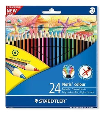 STAEDTLER NORIS WOPEX HEXAGONAL COLOUR PENCILS SET - WALLET OF 24