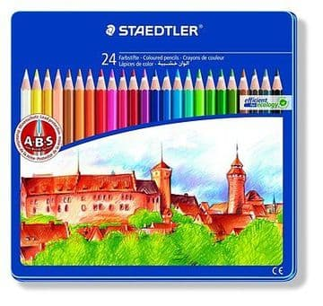STAEDTLER NORRIS CLUB COLOURING PENCILS - LIMITED EDITION GIFT TIN of 24 Pencils