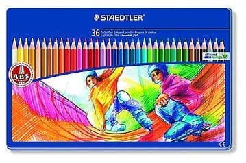 STAEDTLER NORRIS CLUB COLOURING PENCILS - LIMITED EDITION GIFT TIN of 36 Pencils