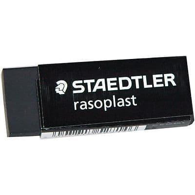 STAEDTLER RASOPLAST BLACK PLASTIC RUBBER ERASER [Pack of 2] Like Staedtler Mars