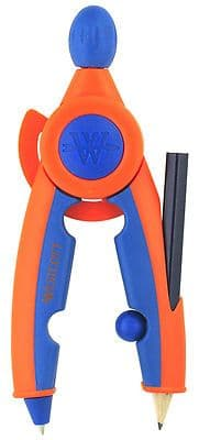 WESTCOTT SOFT TOUCH CHILDREN'S SAFETY COMPASS with PENCIL and RETRACTABLE POINT