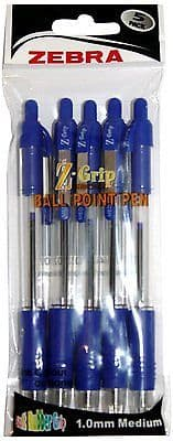ZEBRA Z-GRIP BALL POINT PENS BLUE INK - Pack of 5