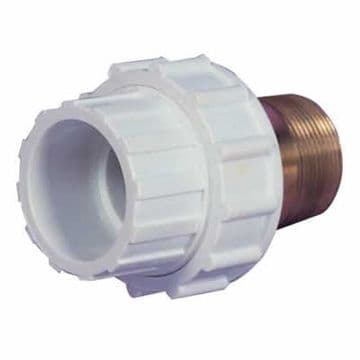 "1.5"" White ABS Composite Union Male Threaded/Female Plain (MT/FP)"