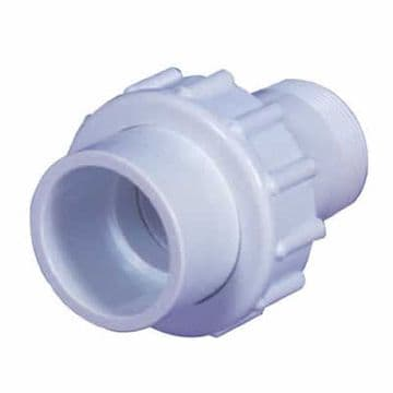 "1.5"" White ABS Socket Union Male Thread/Female Plain (MT/FP)"